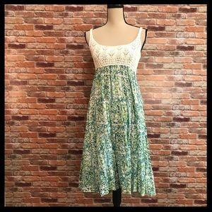 Free People Crochet Bodice Linen Print Dress